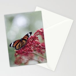 Butterfly Love for Red Flowers Stationery Cards