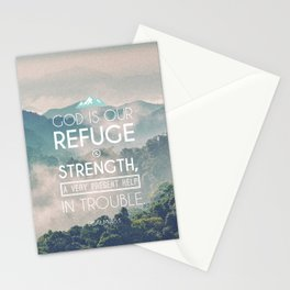 Typography Motivational Christian Bible Verses Poster - Psalm 46:1 Stationery Cards