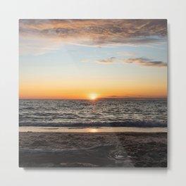 Sunset in Lake Michigan Metal Print