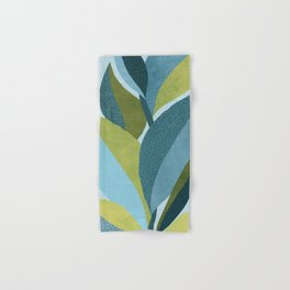 In The Shadows / Abstract Maximal Flora in French Blue and Olive Hand & Bath Towel