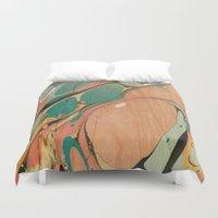utah Duvet Covers featuring Abstract Painting ; Utah by bialy kot art