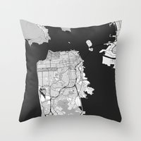 san francisco map Throw Pillows featuring San Francisco Map Gray by City Art Posters