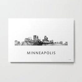 Minneapolis, Minnesota Skyline WB BW Metal Print