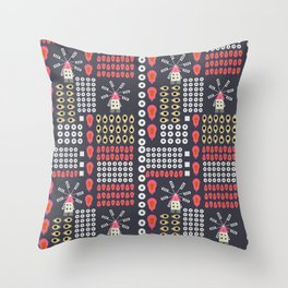 Windmills, fruits and flowers Throw Pillow