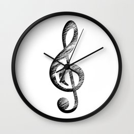 Distressed Music Clef Wall Clock