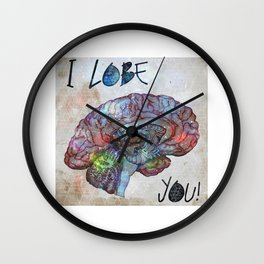 Brain & Galaxy, I lobe you print Wall Clock