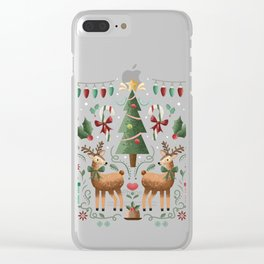 Vintage Holiday Christmas Jubilee Clear iPhone Case