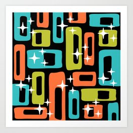 Retro Mid Century Modern Abstract Pattern 222 Orange Chartreuse Turquoise Art Print