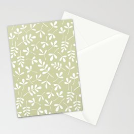 Assorted Leaf Silhouettes White on Lime Ptn Stationery Cards