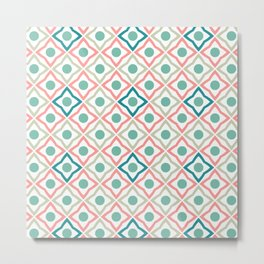 Tile Patten Pink and blue Metal Print