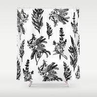 noir Shower Curtains featuring fleur noir by Estelle F
