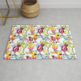 Tropical Watercolor Cocktails Rug