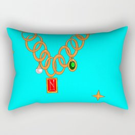 Jewels, gems of ruby, pearl and emerald Rectangular Pillow