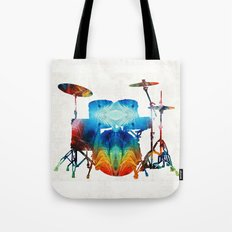 Drum Set Art - Color Fusion Drums - By Sharon Cummings Tote Bag