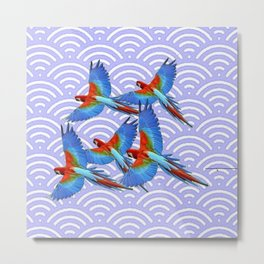 MODERN ART BLUE & RED TROPICAL MACAWS IN FLIGHT ART f Metal Print
