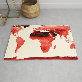 World Map brick red Rug