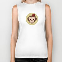 fez Biker Tanks featuring Monkey with Fez by JaggedGenius