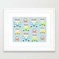 vans Framed Art Prints featuring Camper Vans by Laura Maria Designs