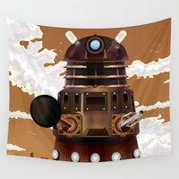 dalek Wall Tapestries featuring To Victory! vintage science fiction poster. by Nick's Emporium Gallery