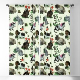 Garden Animals Rabbit Cat Dog Flowers Blackout Curtain