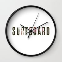 surfboard Wall Clocks featuring floral surfboard by fieldguided