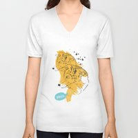 wolves V-neck T-shirts featuring Wolves by Ann Van Haeken