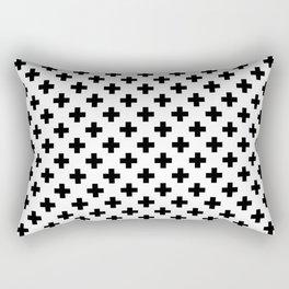 Black Crosses on White Rectangular Pillow