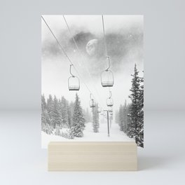 Chairlift Moon Break // Riding the Mountain at Copper Colorado Luna Sky Peeking Foggy Clouds Mini Art Print