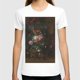 Rachel Ruysch - Roses, Convolvulus, Poppies and other flowers in an Urn on a Stone Ledge (1680) T-shirt