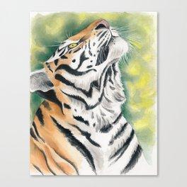 Bengal Tiger Jungle Ink Watercolor full Canvas Print