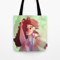hippy Tote Bags featuring Hippy girl by Francesco Malin