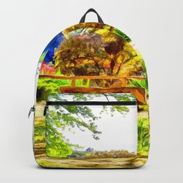 A lakeside view.(Painting) Backpack