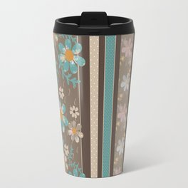 Retro . Turquoise and brown floral pattern . Travel Mug