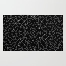 Abstract Collide Outline White on Black Rug
