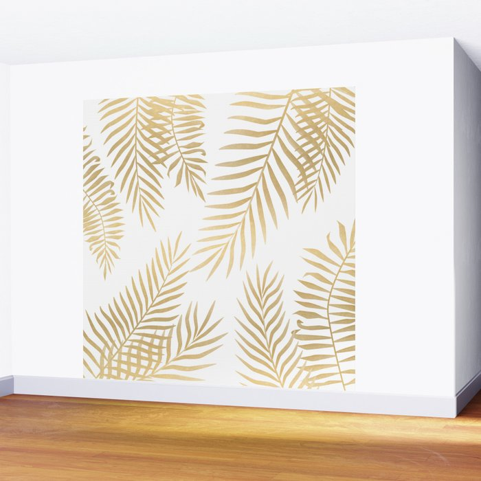 Gold palm leaves Wall Mural