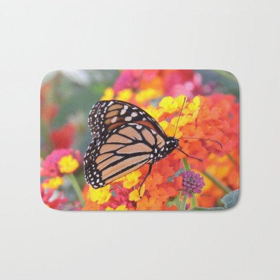 Monarch Feeding on Lantana Bath Mat