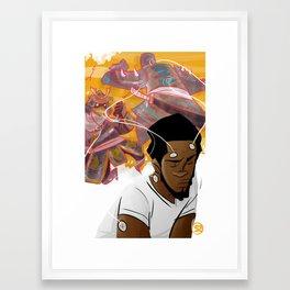 Samurai Brain Waves Framed Art Print