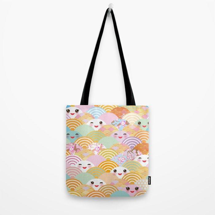 seamless pattern Kawaii with pink cheeks and winking eyes with japanese sakura flower Tote Bag
