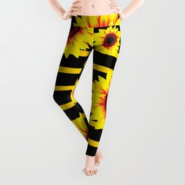 Sunflower Pattern on black yellow striped background Leggings