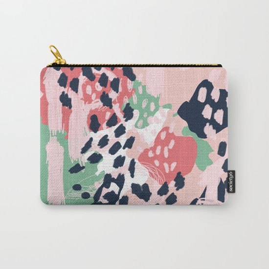 Brooklin - abstract minimal pink coral navy painting home decor abstract charlotte winter art Carry-All Pouch