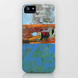Alligator Blue Orange Modern Abstract Contemporary Art iPhone Case