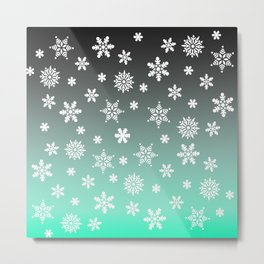 Snow Flurries-Gray/Aqua Ombre Metal Print