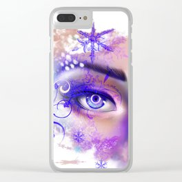 snow beautiful winter snowflakes eyes girl Clear iPhone Case