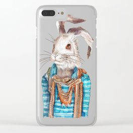 Hare hipster (male) Clear iPhone Case