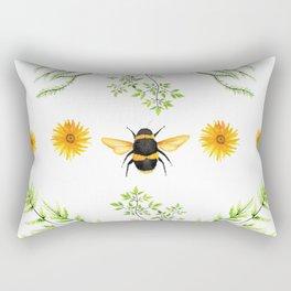 Bees in the Garden v.3 - Watercolor Graphic Rectangular Pillow