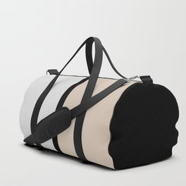 Two colors and black. Gray and Beige Duffle Bag