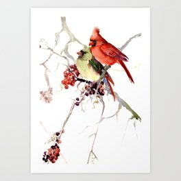 Cardinal Birds, birds art, two bird artwork cardinal bird Art Print