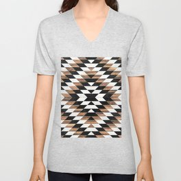 Urban Tribal Pattern No.13 - Aztec - Concrete and Wood Unisex V-Neck