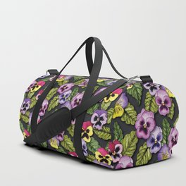 Purple, Red & Yellow Pansies With Green Leaves - Floral/Botanical Pattern Duffle Bag