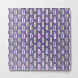 Tree leaf silhouettes seamless pattern Metal Print